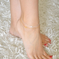 Sideways Cross Anklet Mini / Tiny STERLING SILVER