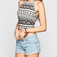 FULL TILT Boho Elephant Womens Halter Crop Top