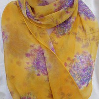 Extra large long silk chiffon scarf Gold Purples wild flowers | morgansilk - Accessories on ArtFire