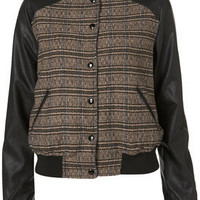 Faux Leather Check Bomber Jacket - Sale  - Sale & Offers  - Topshop