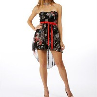 Black Multicolor Hi-Lo Dresses