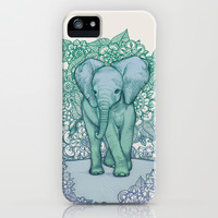 Emerald Elephant in the Lilac Evening iPhone & iPod Case by micklyn