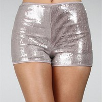 Silver Sequin High Waisted Sequin Shorts