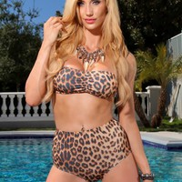 Leopard Bandeau Top High Waist Sexy Swimsuit