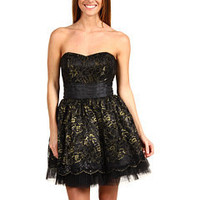 Betsey Johnson Strapless A-Line Jinglebells Party Dress Black/Gold - 6pm.com