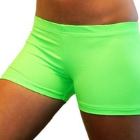 Solid Neon Spandex Shorts (4 In. Adult S 4-6, Neon Green)