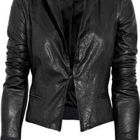 A.L.C.|Contrast-trim leather jacket|NET-A-PORTER.COM