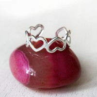 Silver Heart Ring / Little Finger Ring