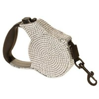 Crystal Case Rhinestone Retractable Dog Pet Leash Small 9 Feet Long Supports up to 30-Pound