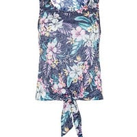 Blue Tropical Print Tie Front Shell Top