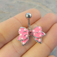 Polka Dot Pink Bow Belly Button Ring Jewelry