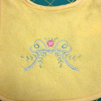 Baby Bib Yellow with Embroidered Heirloom Christening Design 0 - 6 Mo | PinkCloudsAndBabyBlue - Children