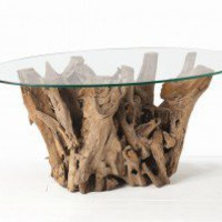ARTERIORS Home Kingston Driftwood Oval Cocktail Table in Distressed Natural Brown - 5413 - Accent Tables - Decor