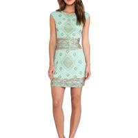 renzo + kai Embellished Cap Sleeve Dress in Mint & Rosegold