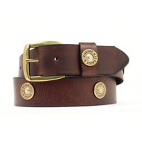 Nocona Mens Brown Strap w/ Shotgun Shell Conchos Belt