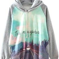 Sheinside Cute Grey Print Hooded Cool Fashion Sweatshirt (L, Grey)