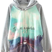 Sheinside Grey Hooded Long Sleeve Car Print Sweatshirt (L, Grey)