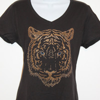 Women's Rhinestone stud TIGER face V-neck black or white T-shirt, Bling tee