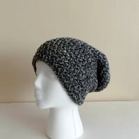 Slouchy Beanie // Crochet Hat in Grey Marle