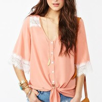 Laced Tie Top - Peach in Clothes Tops at Nasty Gal