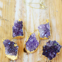 AMETHYST GEODE ➳ GOLD PLATED NECKLACE
