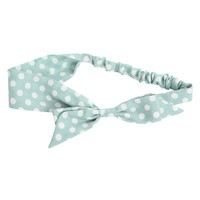 Light Mint And White Polka Dot Headband