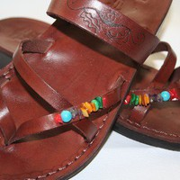 Brown Decor Moon Leather Sandals | SANDALI - Clothing on ArtFire