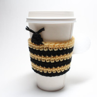 Bee Coffee Cozy, Crochet Coffee Sleeve, Bumble Bee Can Koozie, Travel Cup Holder, Mug Sleeve