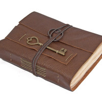 Brown Leather Journal with Tea Stained Paper and Heart Key Charm Bookmark