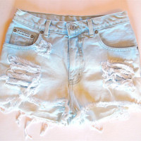 Pastel blue white/ Studded&amp;Destroyed/ High Waisted by RomaniRose