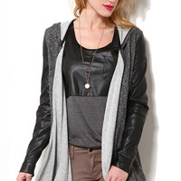 Knit Pleather Sleeved Open Cardigan