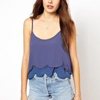 Costa Blanca | Costa Blanca Scallop Crop Top with Beading at ASOS