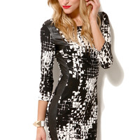 Pleather Panel Graphic Print Dress
