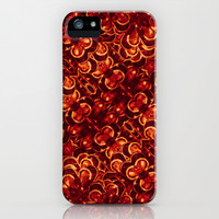 Vibrant Red Flowers Pattern iPhone & iPod Case by Danflcreativo