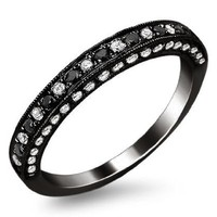 .47ct Black & White Round Diamond Pave Wedding Band Ring 18k Black Gold