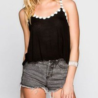 Ali & Kris Daisy Trim Womens Crop Swing Tank Black  In Sizes