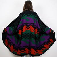 Vintage Oversized Sweater Coat Black Red Purple Green Camo Print Draped Kimono Jacket Knit Jumper Ombre Striped Boho L XL XXL Extra Large