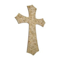 Decorative Cross wall hanging in antiqued crackle finish earth tones with gold accents, hand painted wooden cross, tan and brown cross