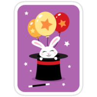Rabbit in magicians hat with balloons and stars