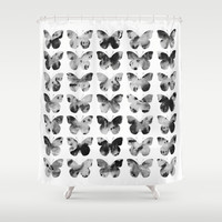 Butterflies Watercolor (black and white) Shower Curtain by Jacqueline Maldonado