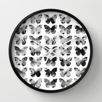 Butterflies Watercolor (black and white) Wall Clock by Jacqueline Maldonado