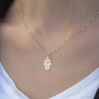 Gold hand necklace, Hamsa necklace, Hand pendant, Dainty necklace, Lucky pendant, Charm necklace, Jewelry gift, Jewish gold jewelry
