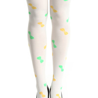 Colorful Bowknot White Tights