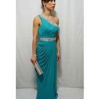 Teal One Shoulder Embellished Gown