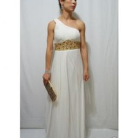 Winter White One Shoulder Gown