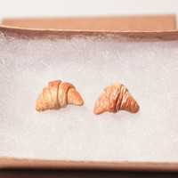 Croissant Stud Earrings. Bread Earrings. Dainty Stud Earrings. Food Jewelry. Pastry Earrings. Polymer Clay Earrings.