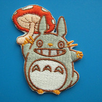 Iron-on Embroidered Patch TOTORO with Mushroom Umbrella 2.5 inch