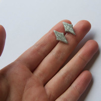 Eco friendly handshaped polymer clay earrings - Sparkly diamond shaped studs - Grey rhombus studs - Silver glitter earrings