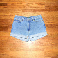 Custom Denim Cut Offs - Vintage 90s Light Stone Washed Jean Shorts - Cut Off/Frayed/Distressed Designer Ralph Lauren Shorts - Size 11/12