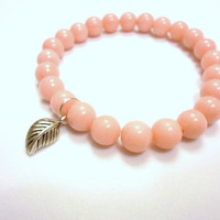 Light Coral Bracelet, Peach Bracelet, Light Coral Mountain Jade Gemstone Bracelet with Leaf Charm.Women's Bracelet. Stretch Bracelet.Jewelry
